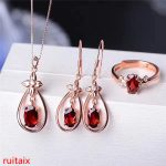 KJJEAXCMY boutique jewels 925 sterling <b>silver</b> inlaid with natural garnet female pendant ring <b>earrings</b> 3 pieces of gold and silve