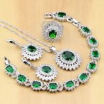 925 Sterling <b>Silver</b> Bridal Jewelry Green Cubic Zirconia White CZ Women Jewelry Sets Earrings/Pendant/Necklace/Rings/<b>Bracelet</b>