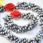 Wedding Woman <b>jewelry</b> Set 4 Strands 10mm Blue Gray Natural Freshwater Pearl Choker Necklace Bracelet Red Rose Clasp <b>Handmade</b>