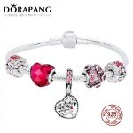 DORAPANG 2018 Valentine's Day New 925 <b>Sterling</b> <b>Silver</b> Bracelet Set Red Heart shaped Charm Bead for Women Fashion Bangle <b>Jewelry</b>