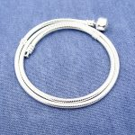 Solid 925 Sterling <b>Silver</b> <b>Bracelet</b> Charm Necklace for Men/Women Fashion Jewelry 3mm 18/20 Inch Round Snake Chain Logo Signatured