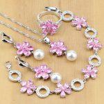 Elegant 925 Sterling <b>Silver</b> Jewelry Sets Pink Zircon With Pearl Beads For Women Wedding Earrings/Pendant/Rings/<b>Bracelet</b>/Necklace