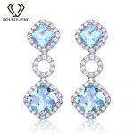 DOUBLE-R Genuine Natural Blue Topaz Gemstone 925 Sterling <b>Silver</b> Drop <b>Earrings</b> For Women Wedding <b>Earrings</b>