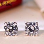 ULex 1Ct Korean <b>Earrings</b> Party Wearing Round High-Carbon Diamond Stud <b>Earrings</b> 925 Sterling Sliver Jewelry For Women Men E04