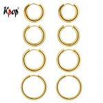 Kpop Hoop Earrings Set Simple <b>Jewelry</b> Gold/Silver Color Big Thick Circle Hoop Earrings for Women Size 10mm 14mm 16mm 20mm 4GE33