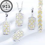 Yellow Zircon Wedding Silver 925 <b>Jewelry</b> Sets Women Charms Bracelets Pendant&<b>Necklace</b> Rings Earrings With Stones Set Gift Box
