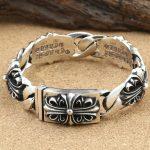 Wholesale S925 <b>Sterling</b> <b>Silver</b> Personalized <b>Jewelry</b> Retro Thai <b>Silver</b> Flow Wide Cross Cross Flower Bracelet