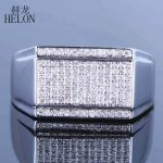 HELON New Finish Mens 0.5ct Natural Diamonds Ring Sterling <b>silver</b> 925 Engagement Wedding Fashion Band Pinky Ring Fine <b>Jewelry</b>
