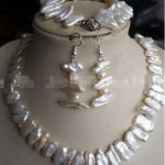 Free shipping hot sale Women Bridal Wedding Jewelry >>New 7x15mm White Natural Baroque Pearl Necklace <b>Bracelet</b> Earring