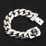 S925 <b>sterling</b> <b>silver</b> men's bracelet personality fashion <b>jewelry</b> smooth cherry blossom shape 2018 new gift to send lover
