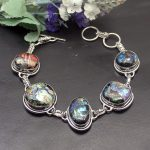 Amazing Party <b>Jewelry</b> Mystic Dichroic Glass Vintage 925 Sterling Silver Chain Links Bracelet 8.5INCH NY779 <b>Handmade</b> Charms