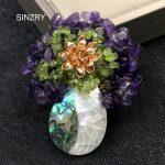 SINZRY elegant <b>jewelry</b> <b>accessory</b> handmade DIY Natural shell vase brooch pin glass stone lady brooches scarf buckle