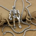 Huge Heavy 925 Sterling <b>Silver</b> Movable Limbs Skull Robot Punk Pendant 9L019(<b>Necklace</b> 24inch)