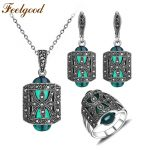 Feelgood Unique Antique Silver Color Jewellery Set Green Resin And Rhinestone <b>Fashion</b> Vintage <b>Jewelry</b> Sets For Women Mother Gift