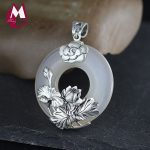 Pendant Women Fine Plant Natural Stone Chalcedony Jade Pendant <b>Silver</b> 925 <b>Jewelry</b> Vintage Thai <b>Silver</b> Lotus Leaves Flower SP23