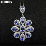 Women Natural Tanzanite Blue Gems Stone Pendant Necklace Chain 925 <b>Sterling</b> <b>Silver</b> <b>Jewelry</b>