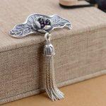 FNJ 925 Silver Flower Pendant Fashion Yellow Chalcedony Stone Pure S925 Solid Thai Silver Pendants for Women Men <b>Jewelry</b> <b>Making</b>