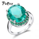 PATICO Top Quality 925 Sterling Silver Finger Rings Shining Big Oval CZ Crystal Propose Wedding Anniversary Women Gift <b>Jewelry</b>