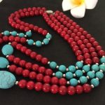 New arrival red artificial coral charms calaite stone turquoises 8mm beads diy semi-precious necklace <b>making</b> 18 inch BV113