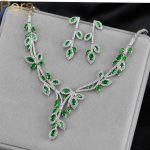 Pera CZ Brand Nigerian And African Women Big Leaf Shape Wedding Party Costume <b>Jewelry</b> Set With Natural Green Cubic Zirconia J138