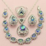 WPAITKYS Classic Multicolor Crystal <b>Silver</b> Color Wedding Jewelry Sets For Women Drop Earrings <b>Bracelet</b> Pendant Necklace Ring
