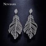 NEWBARK Long Water Earrings Silver Color Feather Shaped Dangling Earrings For Women <b>Wedding</b> Classic Fashion Engagement <b>Jewelry</b>