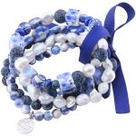 MetJakt Natural Gemstone Mix Sodalite+Pearl+Agate+Lapis 5pcs Handmade Elastic <b>Bracelet</b> with Double Happiness Charm 18-19cm