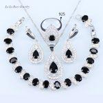 L&B <b>silver</b> 925 wedding jewelry Black stone zircon Necklace Pendant <b>Bracelets</b> Earrings For Women Jewelry Sets