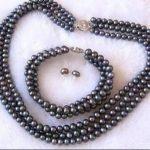 New (Mini Order 1) 3Rows 7-8mm Black Pearl Shell <b>Necklace</b> Bracelet Earrings Set Pearl Beads Fashion <b>Jewelry</b> Set Natural Stone