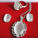 Women's Wedding wholesale elegant silver plated Inlay white opal pendant necklace earring & ring <b>jewelry</b> set silver-<b>jewelry</b>
