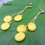 Yoowei Baltic Amber 65mm Long Earrings for Women 925 <b>Sterling</b> <b>Silver</b> Yellow Gold Natural Amber <b>Jewelry</b> Dangle Earrings Wholesale