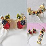 Warmhome Fresh <b>Jewelry</b> Enamel Glaze Copper Classic Berry Raspberry Poppy Flower Gem Bracelet For Women Earrings