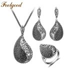 Feelgood Luxury Copper Pave Black Cz Crystal <b>Jewelry</b> Set Vintage Silver Color Teardrop Necklace Earrings Ring Sets 2018 New