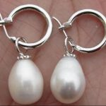 free shipping Wholesale price huge a pair of baroque 12-13mm south sea white pearl <b>earring</b> 925silver