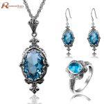 Luxury Genuine 925 Sterling <b>Silver</b> Jewelry Wedding Accessories Vintage Blue Stone Crystal African Bridal Jewelry Set Wholesale