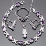 Bridal Zirconia 925 Sterling <b>Silver</b> Jewelry Sets Earrings For Women <b>Bracelet</b> Pendant Ring Necklace Set Jewellery Gift Box