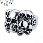 V.YA 925 Sterling Silver Rings Skull New Fashion Skeleton 100% S925 Solid Sterling Silver Ring for Women Men <b>Jewelry</b>