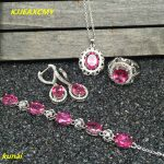 KJJEAXCMY boutique jewels 925 <b>silver</b> inlay natural pink topaz ring pendant <b>earrings</b> bracelet 4 suit jewelry necklace sent sd