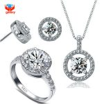 YHAMNI Brand 100% 925 Sterling <b>Silver</b> Ring Necklace <b>Earrings</b> Set Hearts and Arrows Round CZ Diamant Jewelry Sets For Women YS038