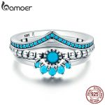 BAMOER Genuine 100% 925 Sterling Silver us Unique as You Geometric 3 Piece Finger Ring for Women Engagement <b>Jewelry</b> SCR368