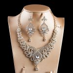 LAN PALACE New arrivals <b>jewelry</b> set gold color glass necklace and earrings for <b>wedding</b> free shipping