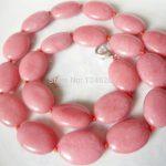 Beautiful 13x18mm Flat Oval Pink Chalcedony Neckalce Beads Fashion <b>Jewelry</b> <b>Making</b> Design Natural Stone 18″ Wholesale Supply