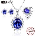 Luxury <b>Jewelry</b> Sets Shiny Cubic Zirconia Blue Tanzanite Sun Flower Earrings Set Ring Necklace <b>Silver</b> 925 Party Jewellery Set