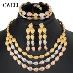 CWEEL Luxury Big Nigerian <b>Jewelry</b> Sets For Women <b>Wedding</b> Three Layer African Beads <b>Jewelry</b> Set Bridal Costume Jewellery Set