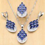 Mystic Blue Zircon 925 Silver <b>Jewelry</b> Sets For Women Wedding <b>Accessories</b> Earrings/Pendant/Necklace/Rings