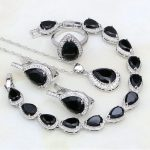 925 Sterling Silver <b>Jewelry</b> Black Rhinestone White CZ <b>Jewelry</b> Sets For Women Anniversary Earring/Pendant/<b>Necklace</b>/Bracelet/Ring