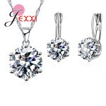 17 Colors <b>Fashion</b> Women 925 Sterling Silver Necklace Suits Couple Gifts Earrings set Pendant Necklaces for Woman Gift