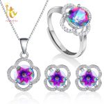 NYMPH Genuine Gem Stone Crystal Topaz Necklace Pendant Rings <b>Earrings</b> Set 925 Sterling <b>Silver</b> Jewelry Gift For Women Rose T238