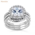 Newshe 3 Pcs Halo <b>Wedding</b> Ring Set Genuine 925 Sterling Silver Engagement Band 1.8 Ct CZ Stunning Fashion <b>Jewelry</b> For Women