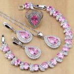 Natural Water Drop Pink CZ 925 Sterling <b>Silver</b> Jewelry Sets For Women Wedding Earrings/Pendant/Necklace/Rings/<b>Bracelet</b>